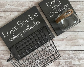 Laundry Room Sign Combo | Keep the Change & Lost Socks - Seeking Solemates | Sign with attached glass coin holder | Coin Jar
