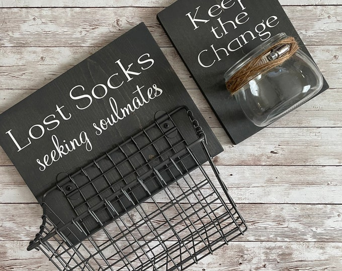 Laundry Room Sign Combo   Keep the Change & Lost Socks - Seeking Solemates   Sign with attached glass coin holder   Coin Jar