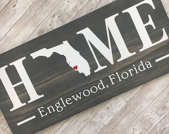 Florida (FL) State HOME sign - 2 sizes available - Customized with town name | Florida Housewarming Gift | New Home Gift