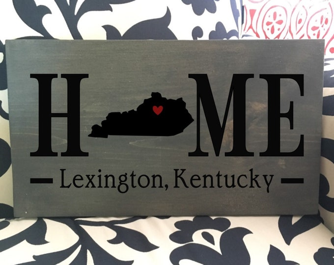 Kentucky (KY) State HOME sign - 2 sizes available - Customized with town name