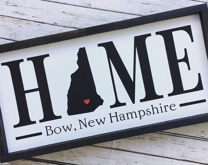 Framed Home State sign with town name customization  - 2 sizes - All states welcome!