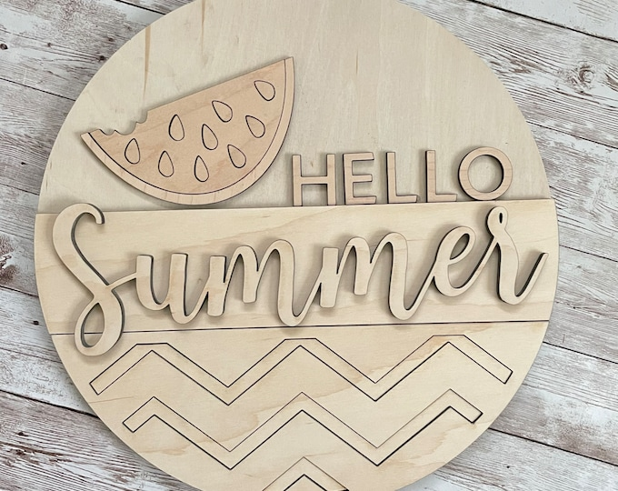 DIY Hello Summer Paint Your Own Sign Kit   Watermelon Summer Sign   DIY Summer project idea   Gift for mom