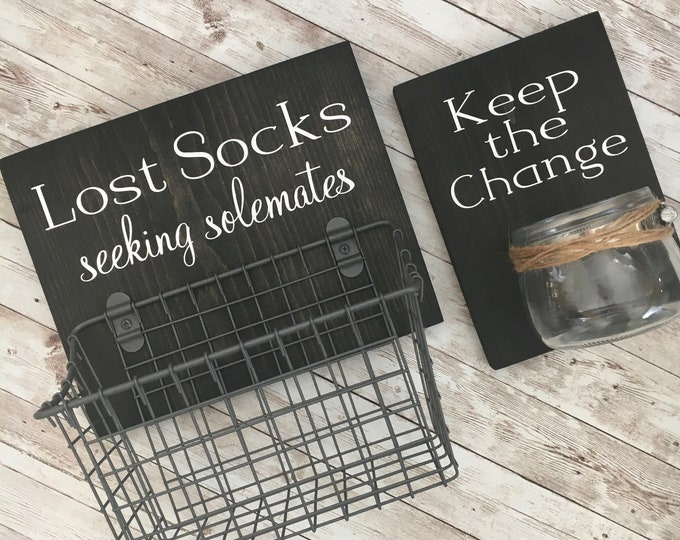 Laundry Room Sign Combo   Keep the Change AND Lost Socks - Seeking Solemates (or Soulmates)   Wood sign with attached glass Coin Jar
