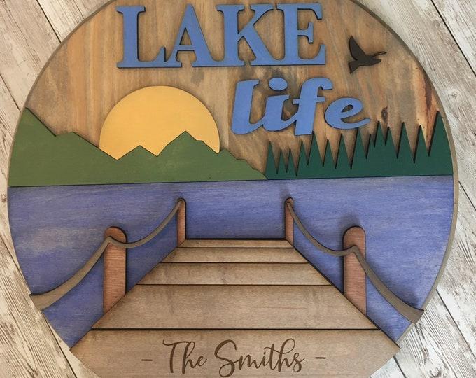 "16"" Round Lake Life 3D Wood Sign | Custom Town or Last Name Wood Circle Sign | Lake House Decor"