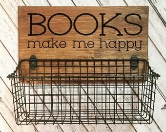 Books Make Me Happy Basket | Hanging Book Storage Basket  | Nursery Decor | Book Organization