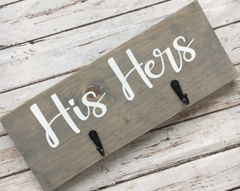 His Hers Towel Hooks | 2 or 4 Hooks | Bathroom Towel Hooks | Mr. Mrs. Towel Hanger | Modern Farmhouse Decor | Bathroom Decor