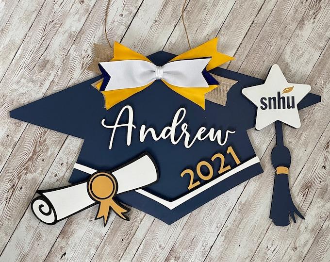 Class of 2021 Custom Grad Cap Door Hanger   Senior 2021 Grad Decor   High School Graduation Door Sign   Graduation Party Decor