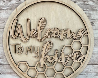 DIY Welcome to our/my hive Paint Your Own Sign Kit | Summer Bee Door Sign |  DIY Summer project idea | Gift for mom