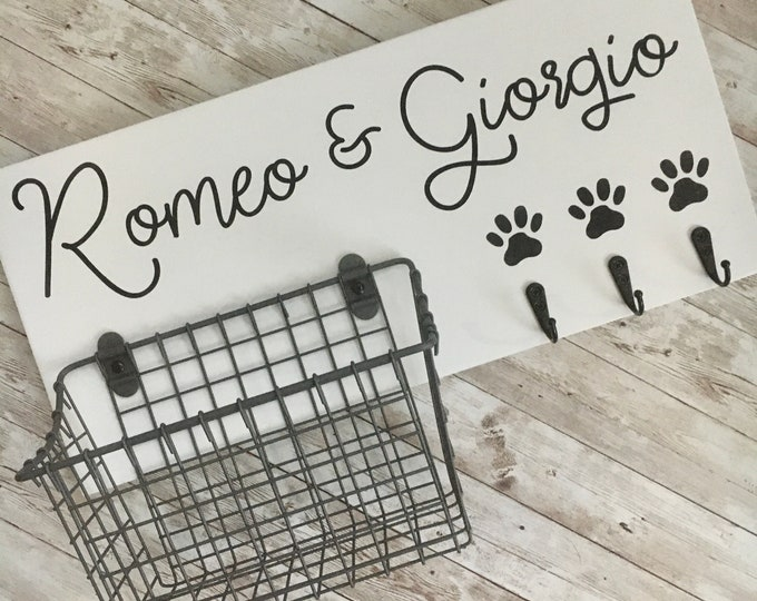 Puppy Leash Hook and Basket Sign Combo | Custom Dog Name sign with basket and leash hooks | Front Door Pet Organizer | Dog Parent Gift
