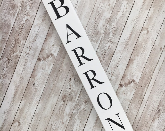 Vertical Last Name or Town Name Sign | Custom gallery wall sign | Housewarming Gift Idea | Thin Vertical Sign | Vertical Name Sign