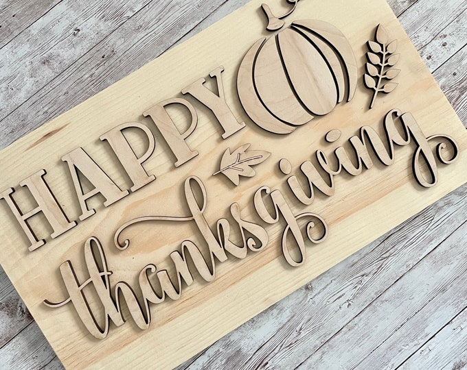 DIY Thanksgiving Paint Your Own Sign Kit | November Paint Kit Sign |  DIY Thanksgiving project idea | Thanksgiving Sign