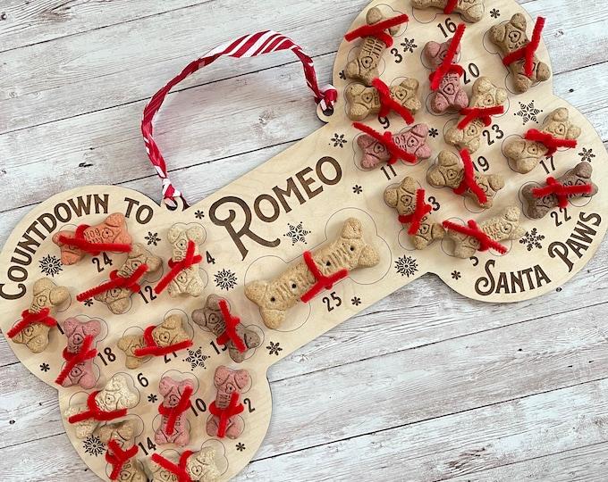 Personalized Dog Santa Treat Countdown to Santa Paws | Dog Advent Calendar | Custom Santa Paws Puppy Bone Treat Holder