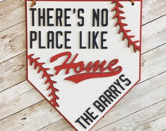 There's no place like home door sign | Baseball Door Hanger | Baseball Family Sign