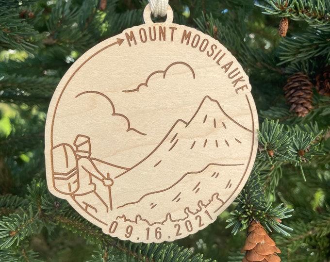 Mount Moosilauke & Date Ornament | NH Hiker Ornament | New Hampshire Mountains | Hiking Souvenir | Hiking Gift Idea