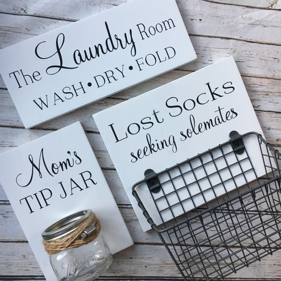 Laundry Room Sign Trio Lost Socks Basket And Mom S Tip Etsy