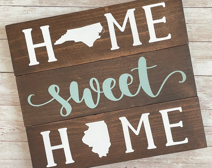 North Carolina to Illinois State Sign | Two State Home Sign | New Home Gift idea | Housewarming Gift Idea | 2 State Sign | Moving away gift