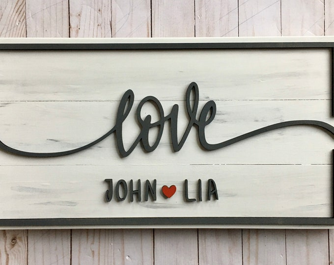 Love | Amour | Forever Couple Name sign | 3D wood wedding sign customized with couple names | White and Grey Wood Sign