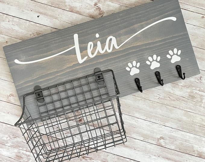 Dog Name Leash Hook and Basket Sign Combo | Custom Dog Name sign with basket and leash hooks | Front Door Pet Organizer | Dog Mom Dad Gift