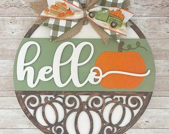 "Fall Pumpkin Sign 12"" / 16"" / 18"" Round Wood Sign | Fall Door Idea | Front door hello sign | Pumpkin Door Sign"
