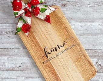 HOME Cutting Board | Custom Town name, Coordinates or Family Name | Housewarming Gift | Charcuterie Cutting Board | 2 sizes Available