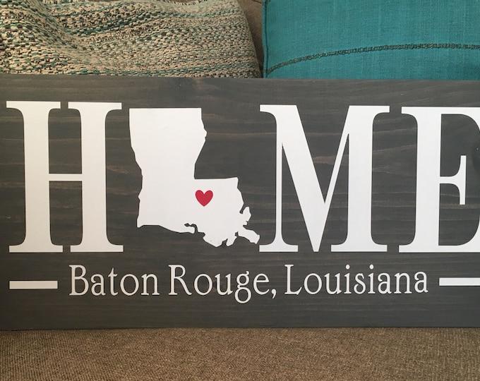 Louisiana (LA) Home State wood sign   2 sizes available  Customized with Louisiana town name   Louisiana Home Decor