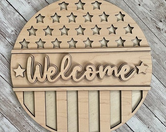DIY Patriotic Welcome Paint Your Own Sign Kit | Fourth of July Sign |  DIY Summer project idea | Gift for mom