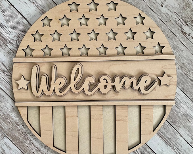 DIY Patriotic Welcome Paint Your Own Sign Kit   Fourth of July Sign    DIY Summer project idea   Gift for mom