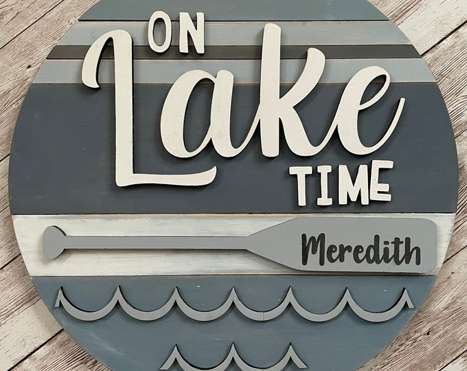 """Meredith New Hampshire On Lake Time 3D Wood Sign 