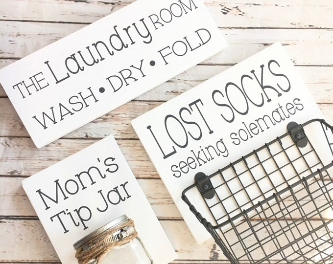 Laundry Room Sign Trio    Lost Socks Basket AND Mom's Tip Jar AND The Laundry Room Sign   Laundry Room Decor   Color Pop Series