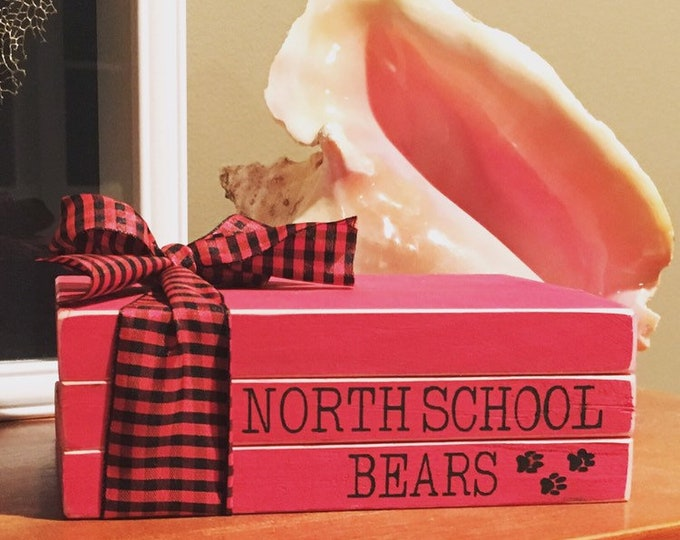 """Painted Red & Black 3-5 Wood Book Stack Teacher Appreciation Gift with Ribbon   5 W x 7 L x 3.5"""" H wood book stack   Personalized Wood Book"""