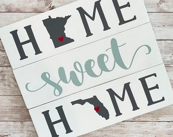 Minnesota to Florida Home Sweet Home 2 State Wood Sign | Two State Home Sign | New Home Gift idea | Housewarming Gift Idea