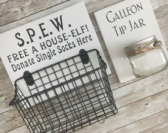Laundry Room Sign Combo | Donate Single Socks Here + Tip Jar | Laundry Room Humor wood sign with attached sock basket + glass coin holder