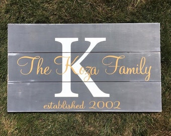 Family Last Name Sign + Established Dates | Gallery Wall Family Name Plank Sign | Housewarming Gift
