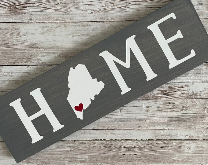 """Maine Home State Wood Sign 
