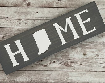"""Indiana Home State Wood Sign 