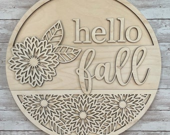 DIY Hello Fall Mums Paint Your Own Sign Kit | Fall Mums Flower Sign |  DIY Fall project idea | Gift for New Home
