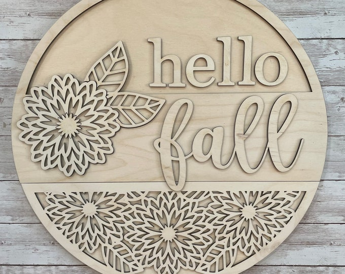 DIY Hello Fall Mums Paint Your Own Sign Kit   Fall Mums Flower Sign    DIY Fall project idea   Gift for New Home