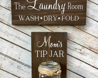 Laundry Combo Mom's Tip Jar AND The Laundry Room Sign | Laundry Room wood sign with attached glass ball jar coin holder | Change Jar