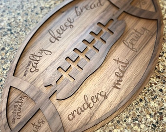 Football Charcuterie Tray | Football Cheese & Meat Snack Tray | Cheese Snack Tray for football Sunday