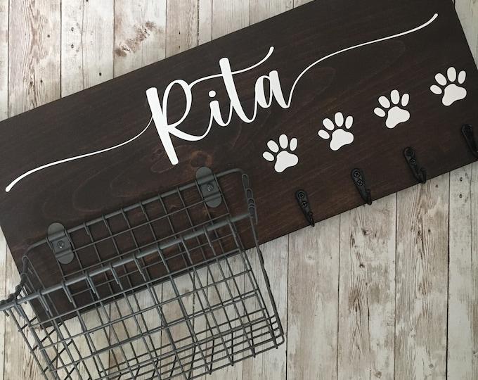 Dog Name Leash Holder and Basket Wall Sign Combo | Quote or Dog Name sign with basket and leash hooks | Wall Dog Leash Hooks