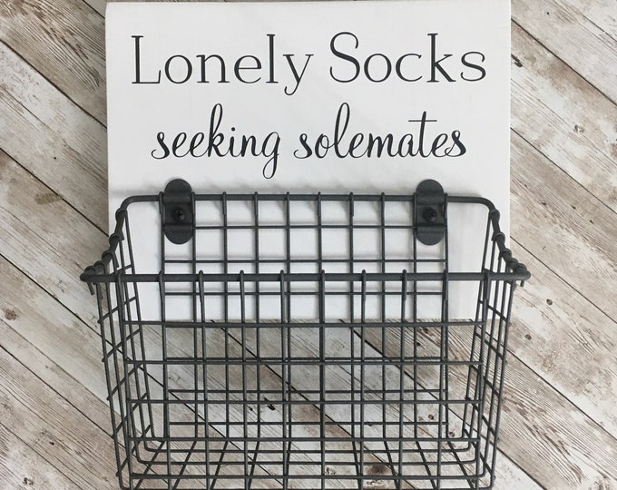 Lonely Socks - Seeking Solemates   wood sign with attached basket   Laundry Room Decor   Laundry Organization