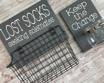 Laundry Room Sign Combo | Keep the Change Jar AND Lost Socks - Seeking Solemates (or Soulmates) | Color Pop Series