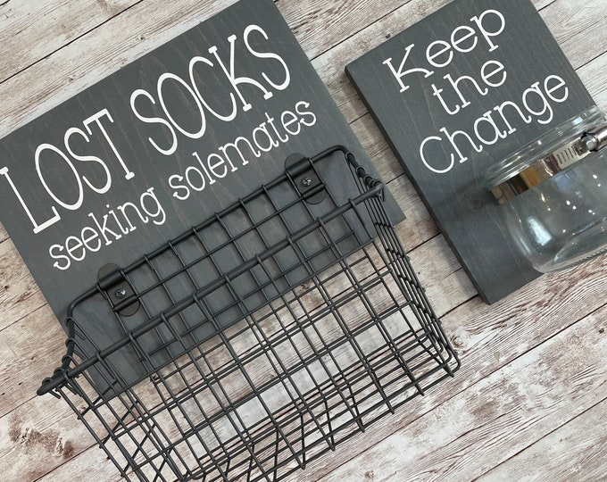 Laundry Room Sign Combo   Keep the Change Jar AND Lost Socks - Seeking Solemates (or Soulmates)   Color Pop Series