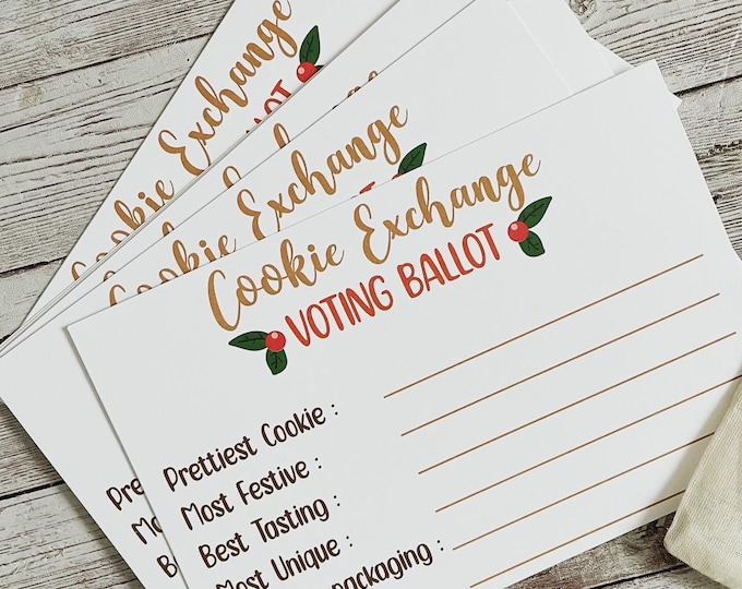 Annual Cookie Exchange Voting Ballot Cards | 4 x 6 inch 2021 Cookie Swap Vote Card | Cookie Party Voting Card