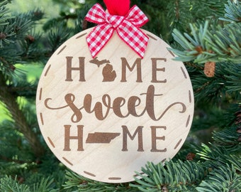 Michigan to Tennessee Home Sweet Home Wood Ornament | State to State Home | New Home Gift idea | Housewarming Gift Idea | Christmas 2021