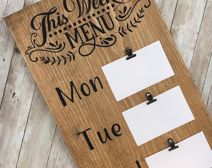 This Week's Menu Sign   Farmhouse Kitchen Decor   Dinner Menu Sign   Family Dinner Organizer   Menu Clip Board   Farmhouse Kitchen