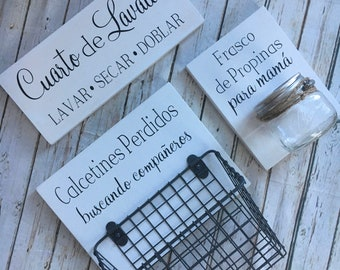 Spanish Laundry Room Sign Trio |  Lost Socks Basket AND Mom's Tip Jar AND The Laundry Room Sign | Laundry Room Decor