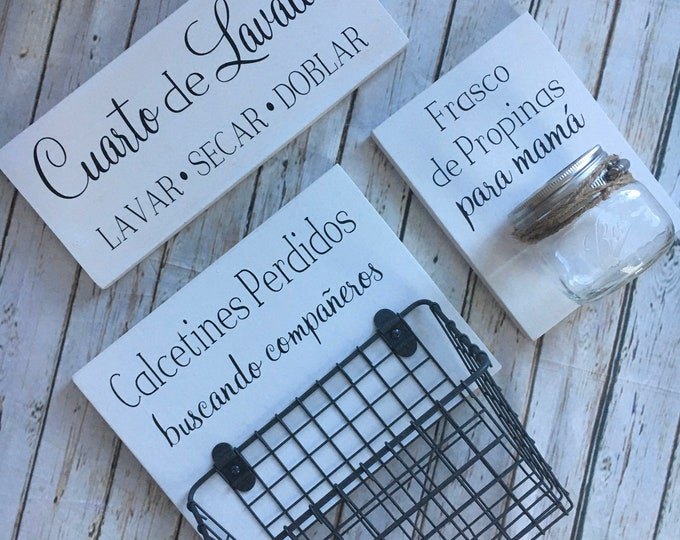 Spanish Laundry Room Sign Trio    Lost Socks Basket AND Mom's Tip Jar AND The Laundry Room Sign   Laundry Room Decor