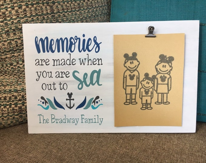 """Painted wood sign with photo clip 
