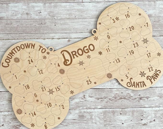 DIY Personalized Dog Bone Countdown to Santa Paws | Dog Treat Advent Calendar | Custom Santa Paws Puppy Bone Treat Holder